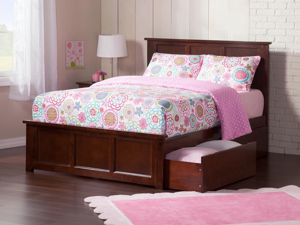 Atlantic Madison Bed W Matching Footboard 2 Urban Bed Drawers In Walnut Tanga