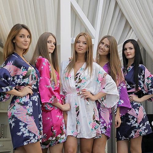 Women s Faux Silk Bathrobe Peacock Printing Sleepwear