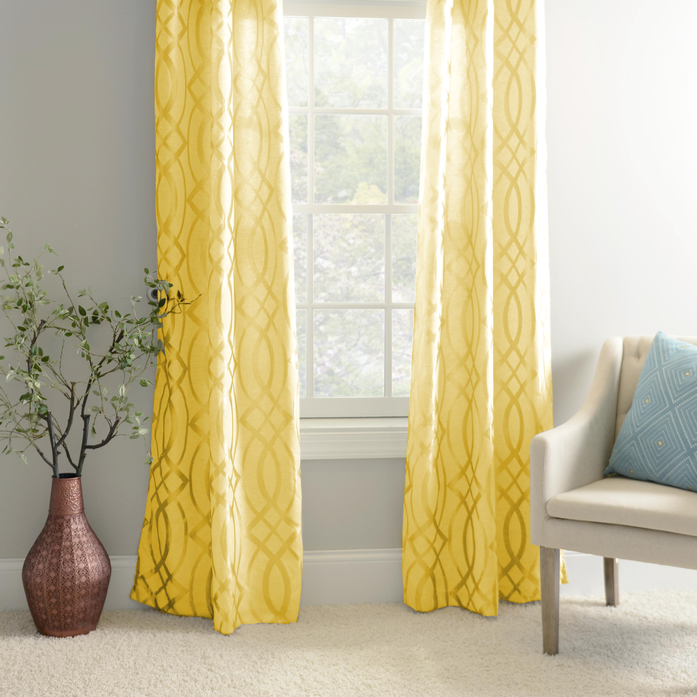 2-Pack Cora 55  x 84  Faux Silk Window Curtain Panels