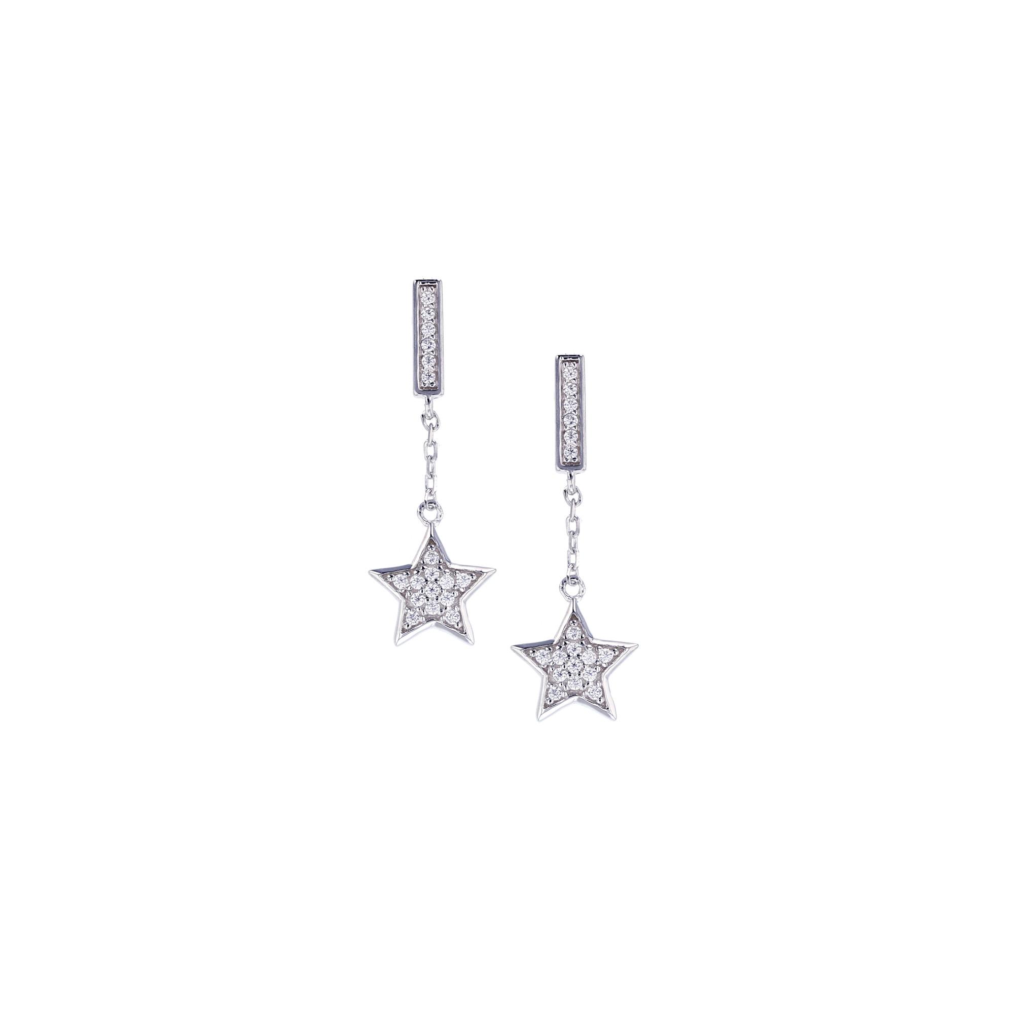 Sterling Silver Star CZ Drop Earring
