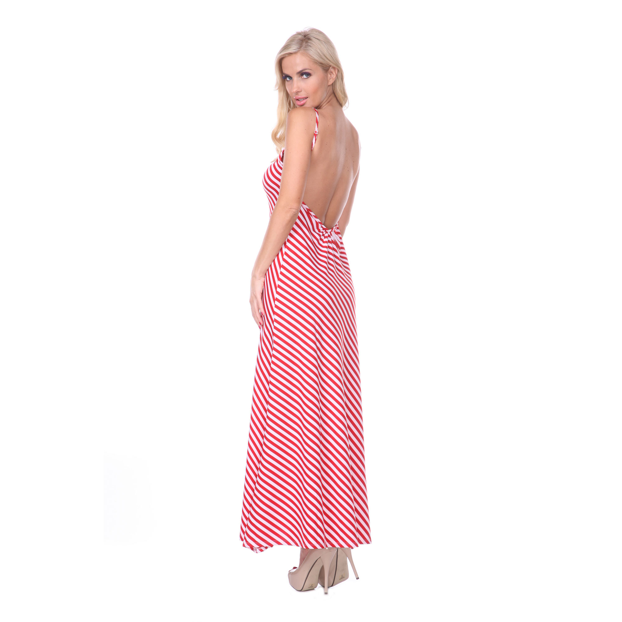 Backless Striped Maxi Dress - 4 Colors
