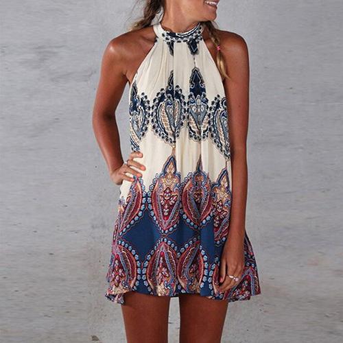 Women Sleeveless Printing Dress