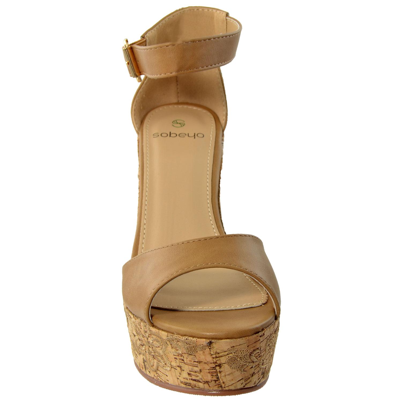 Platform Ankle Strap Cork Heel Wedges Tan Bellechic