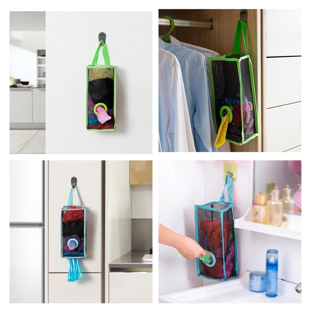 Plastic Breathable Mesh Garbage Bags Kitchen Hanging Storage Bags 9784130