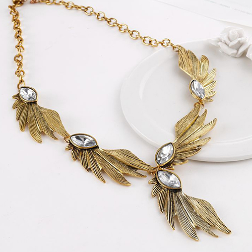 hair style banana angle wing marquise cut rhinestone necklace tanga 5254