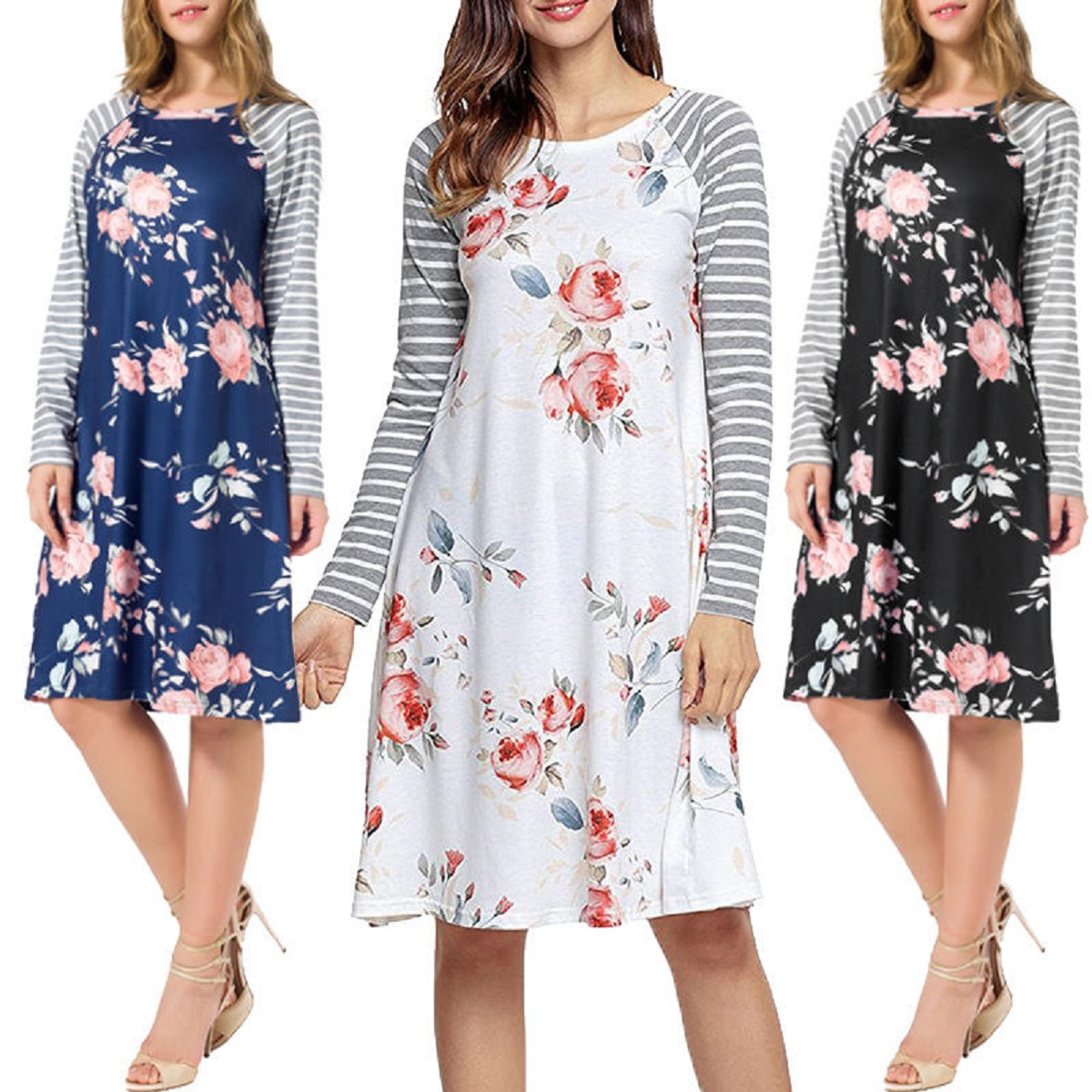 Long Sleeve Striped Floral Dress