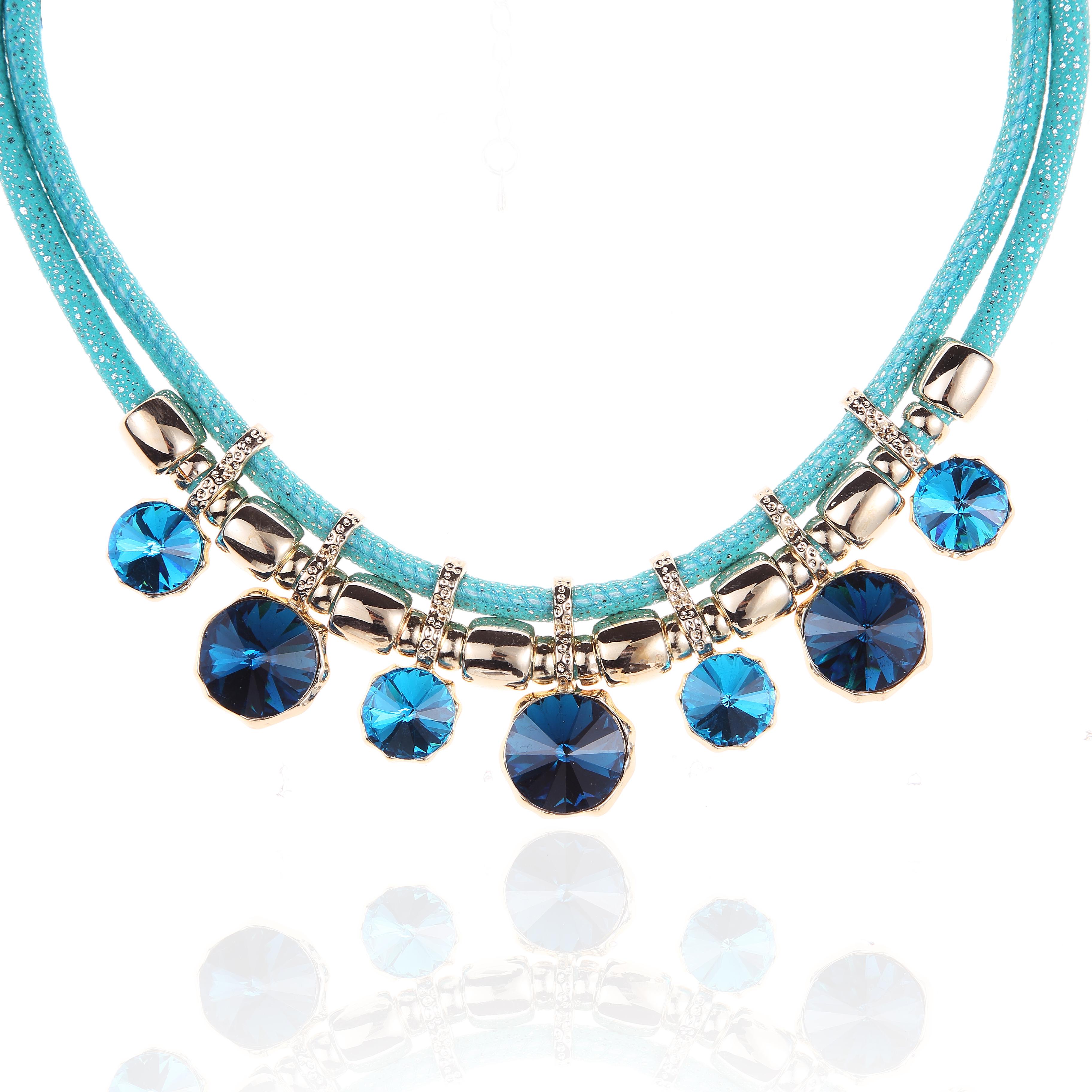 Novadab Cobalt Aqua Artic Corded Statement Necklace
