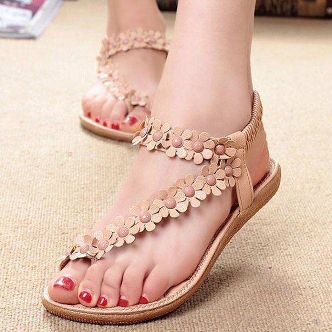 Women s Bohemia Sweet Beaded Clip Toe Sandals
