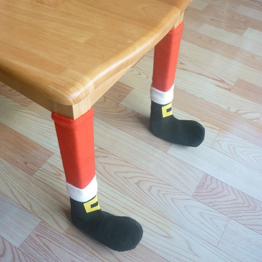 4PC Christmas Chair Leg Foot Cover Table Decoration for Dinner Christm