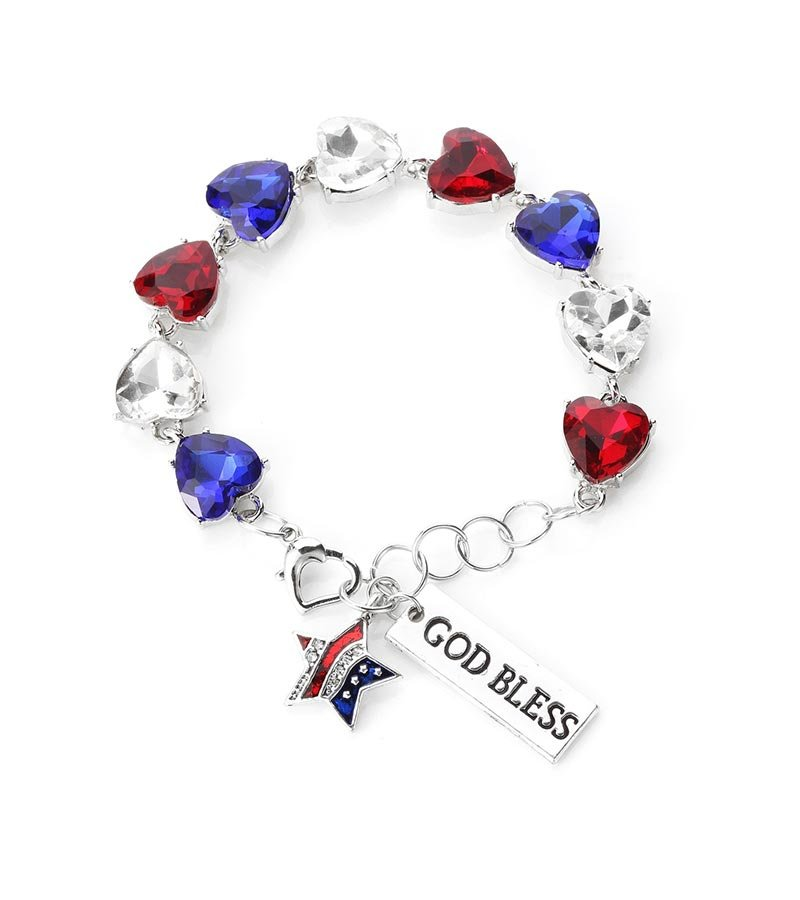 Novadab God Bless America  Tennis Gem Bracelet Three Colors Gems