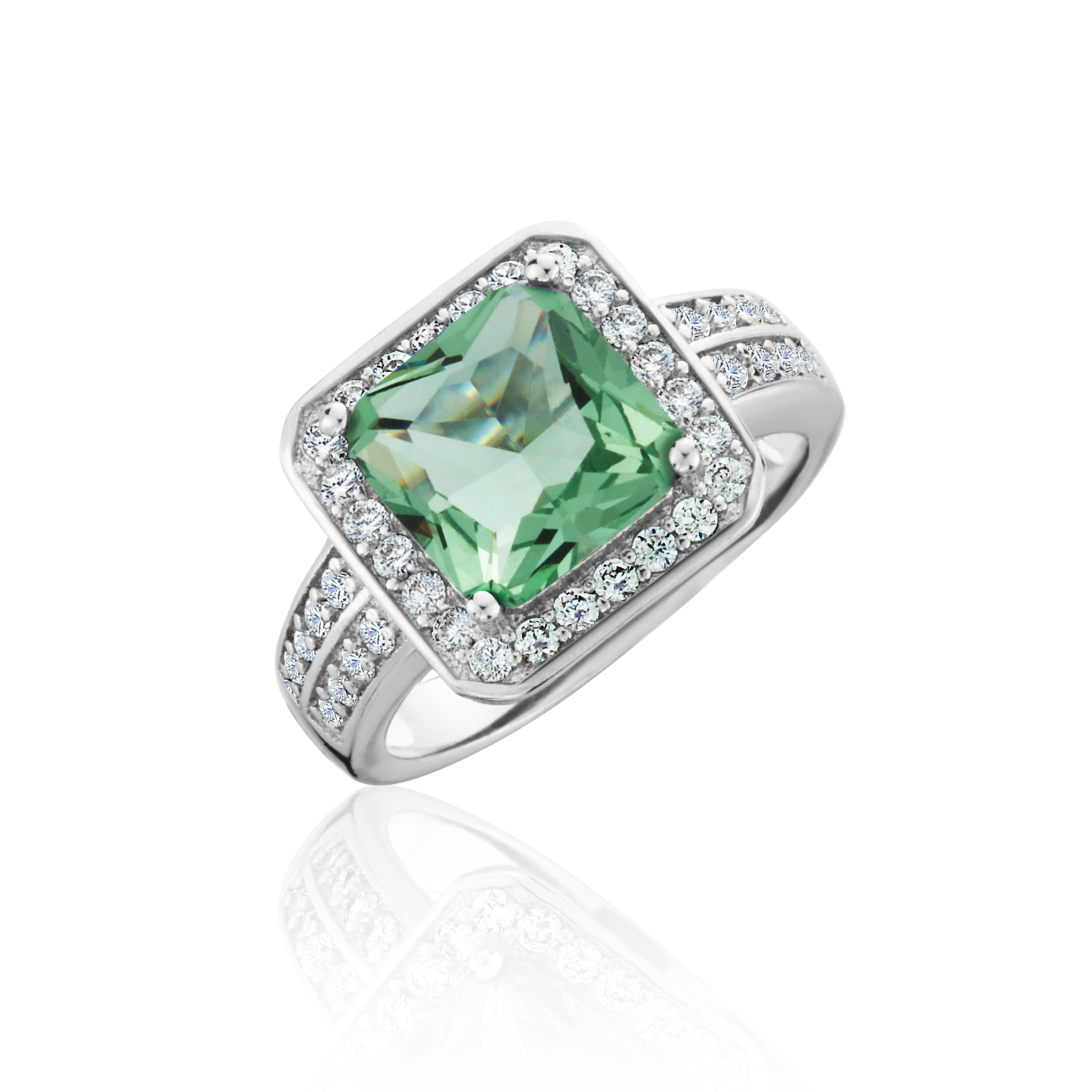 Green Amethyst w  CZ Accents Princess-Cut Ring in 18K White Gold Over
