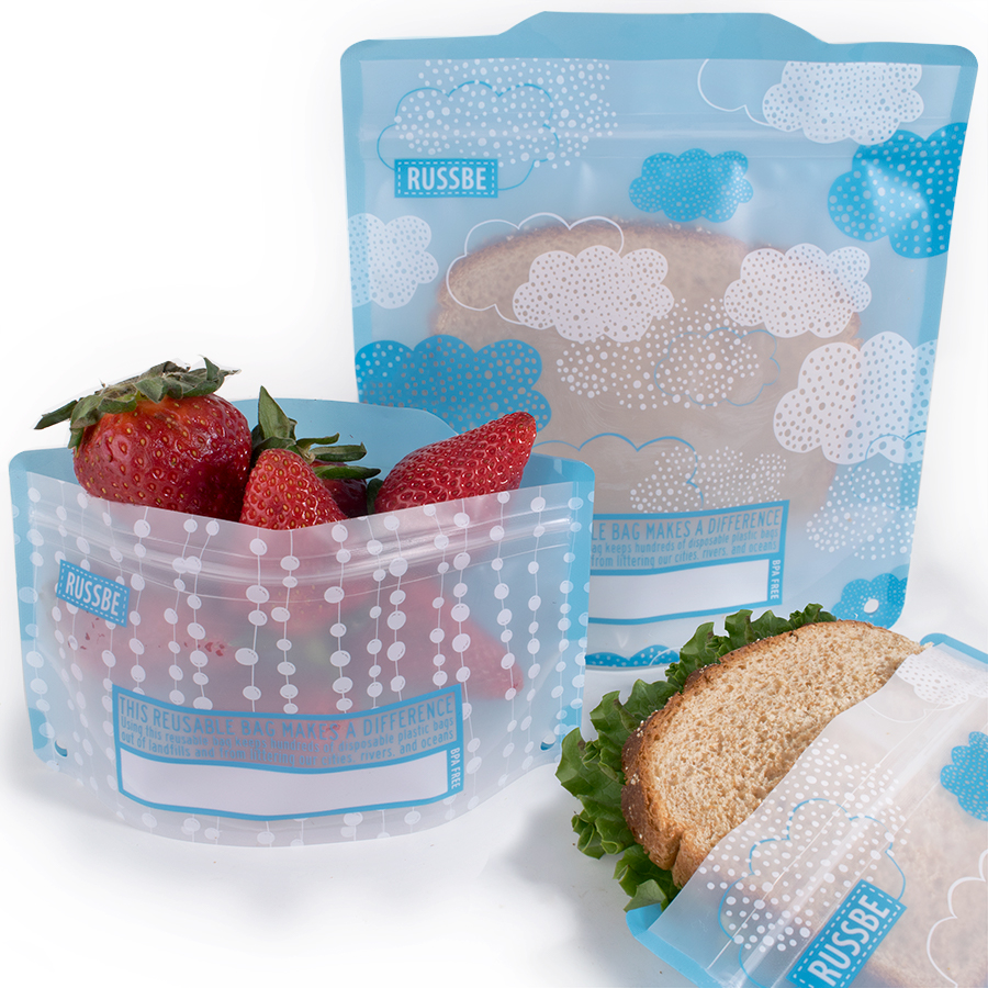Russbe Set of 4 Reusable Snack and Sandwich Bags
