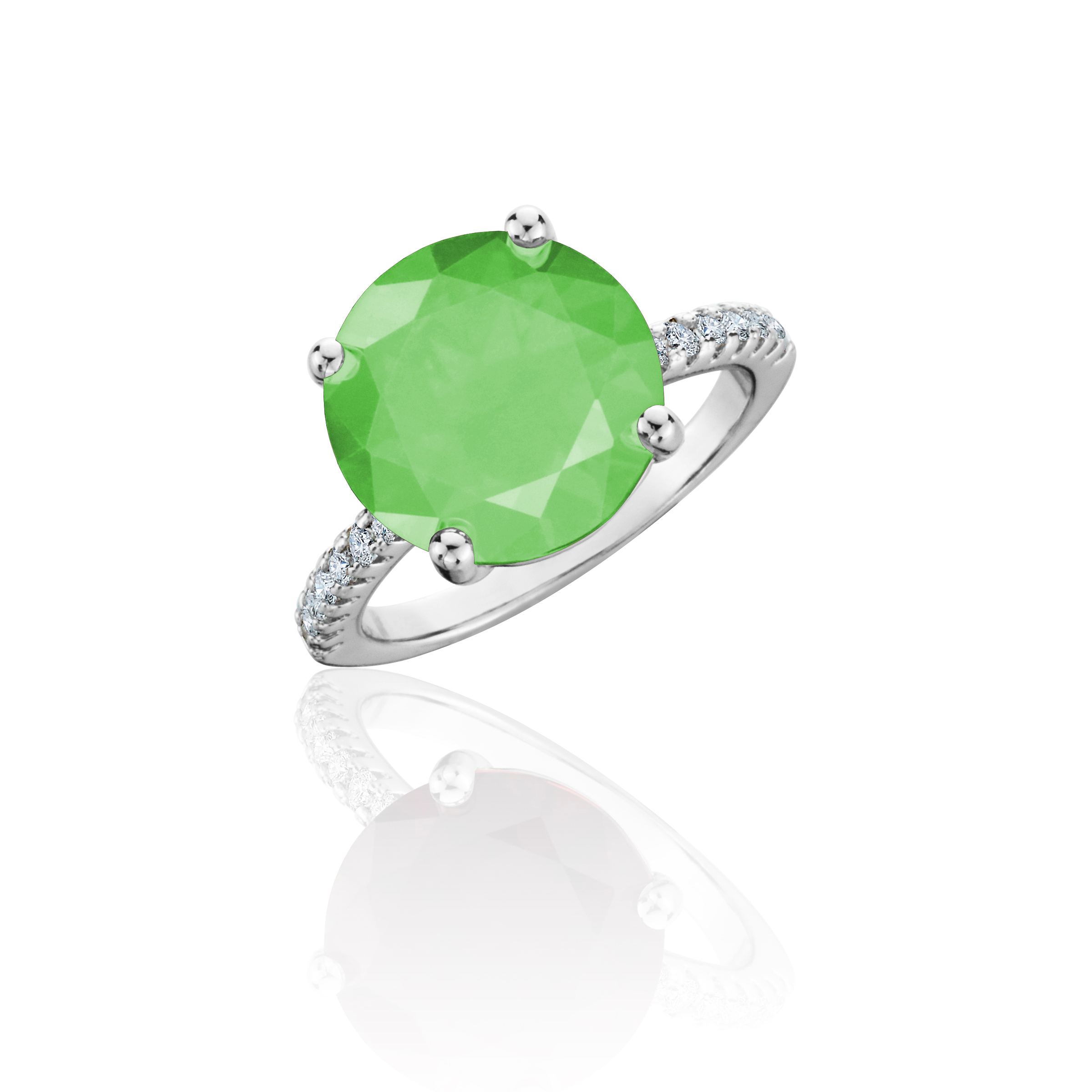 Green Gemstone with CZ Accents Round Ring in 18K White Gold Over Brass
