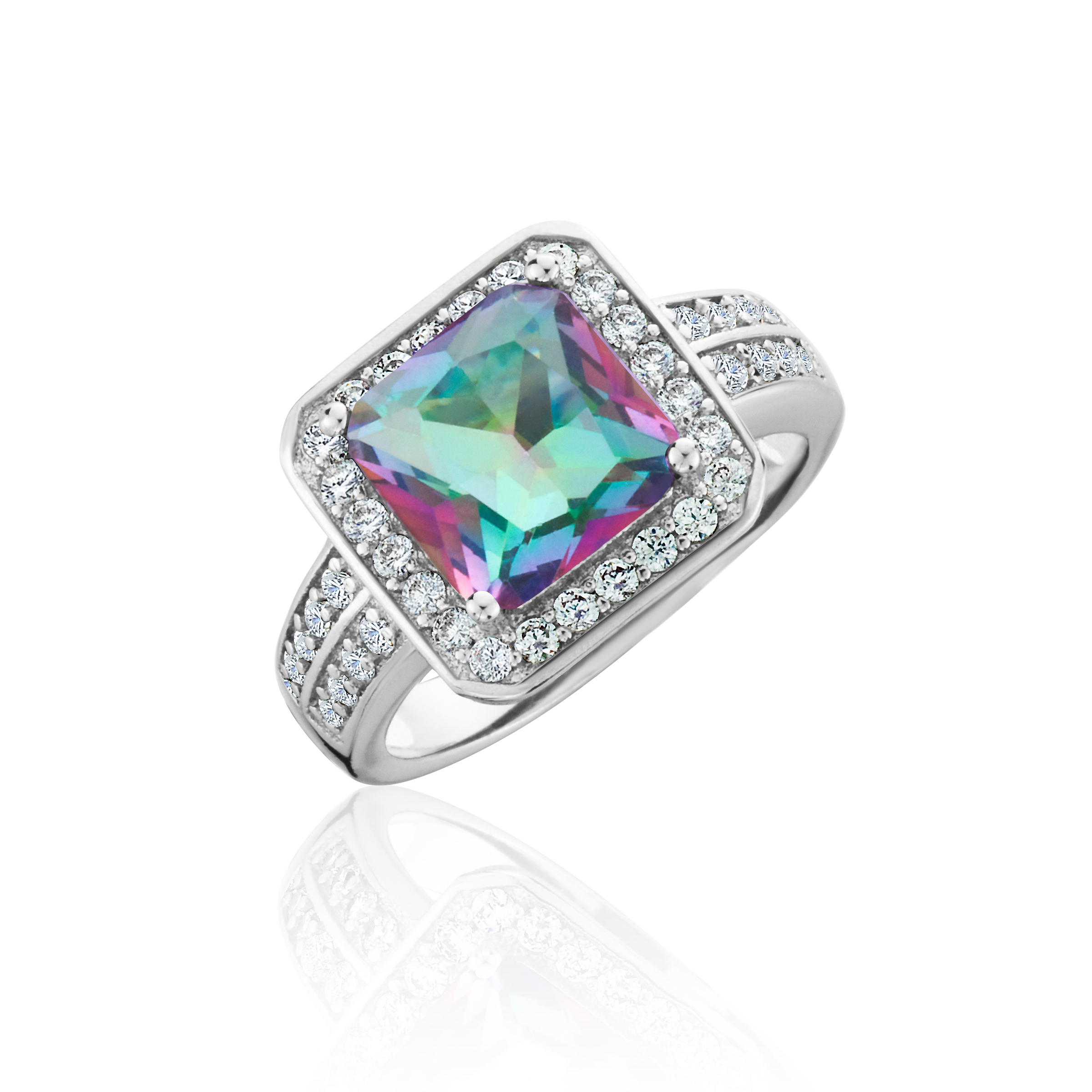 Mystic Quartz w  CZ Accents Princess-Cut Ring in 18K White Gold Over B 79d6485f5711