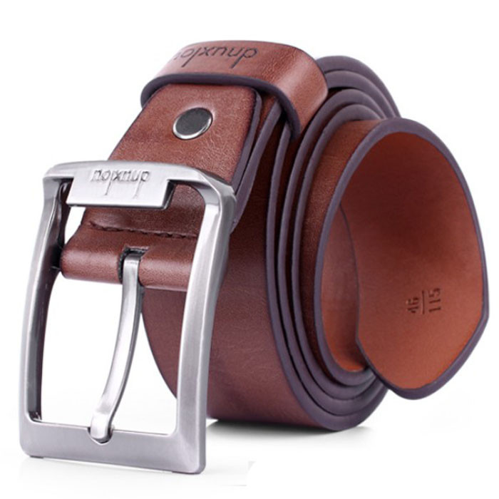 Men s Single-Prong Leather Belt with Metal Buckle