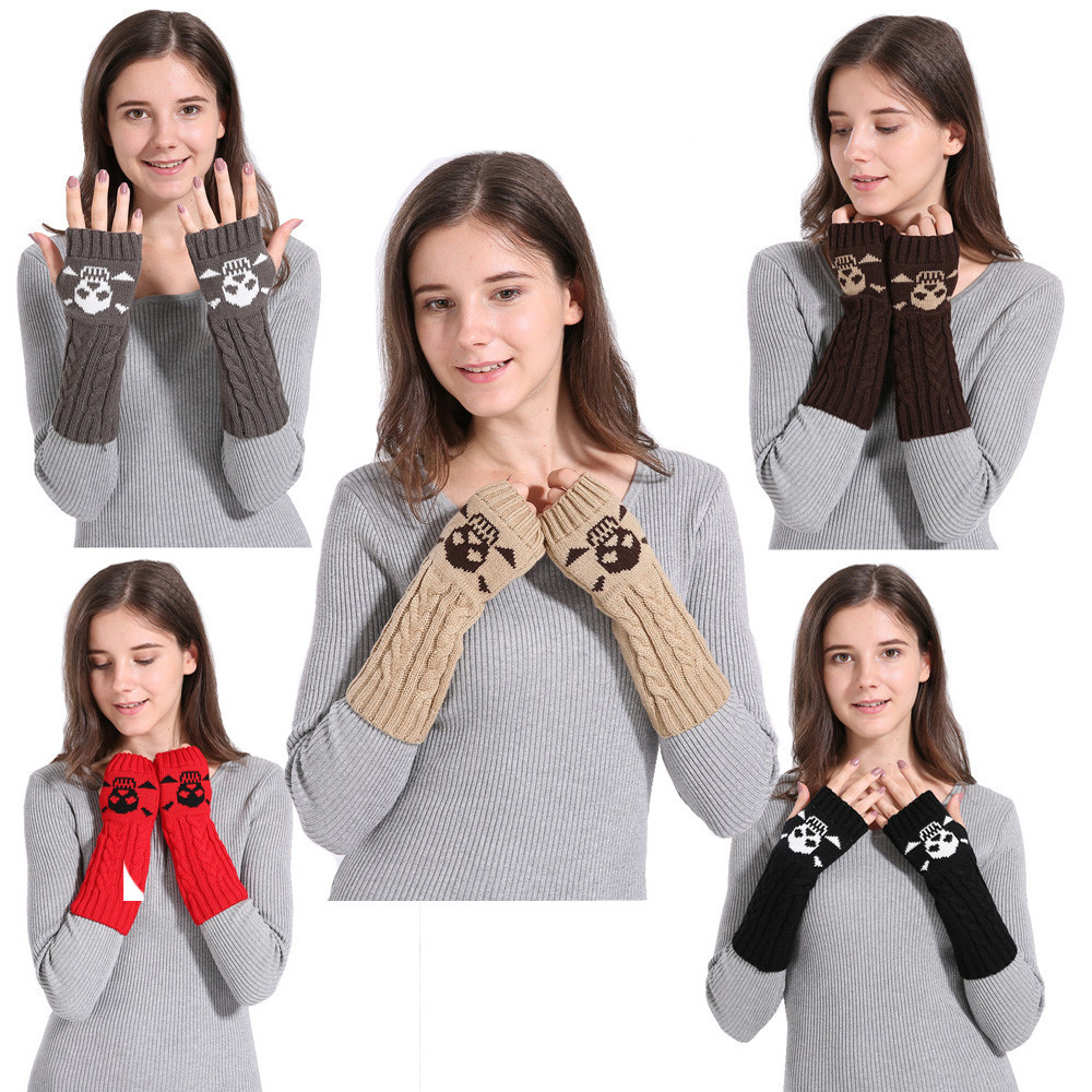 Woman Winter Warm Knitted Long Twist Plus Thick Half Finger Gloves Mit