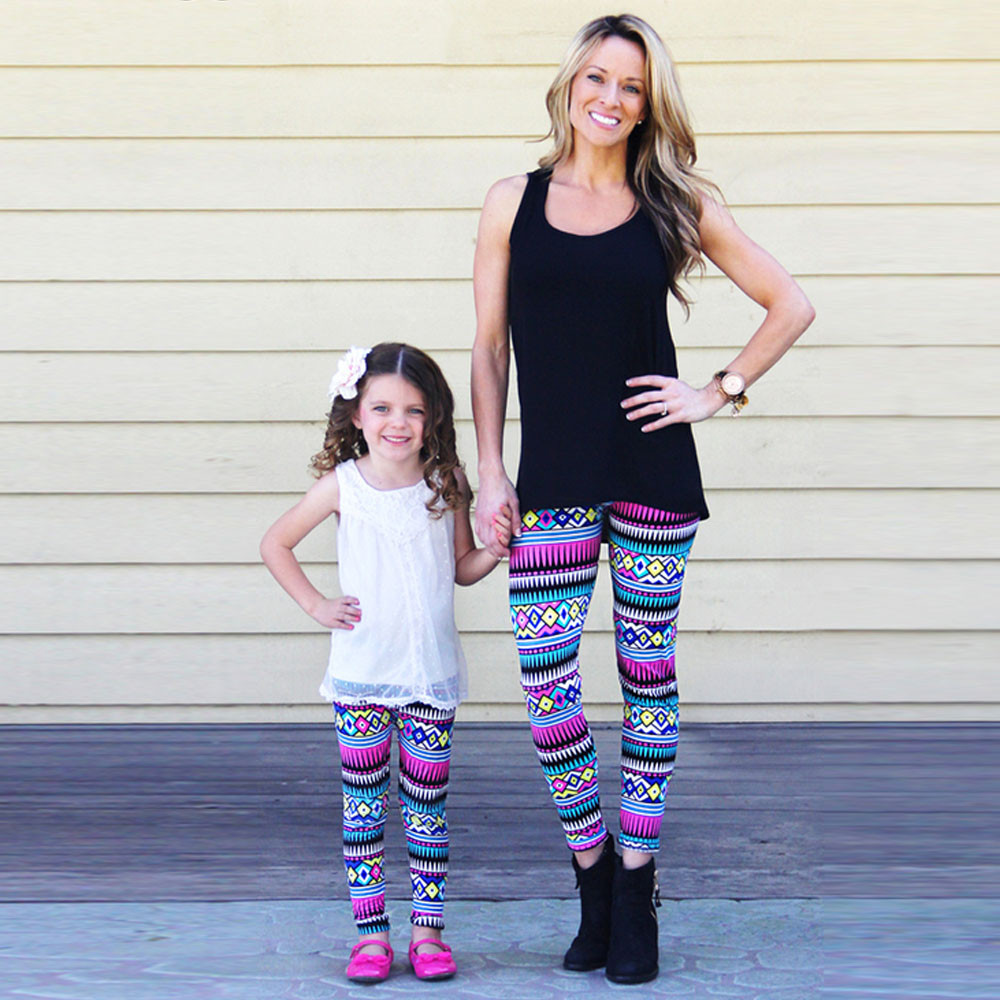 Daughter Tribal Geometric Tight Leggings Trousers Family Clothes Girl