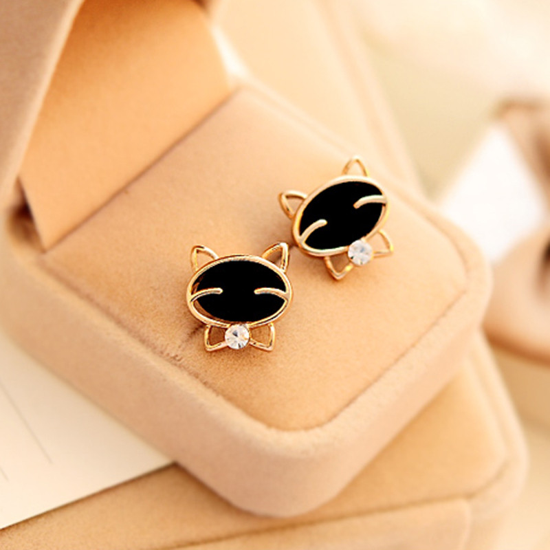 Adorable Black Cat Stud Earrings