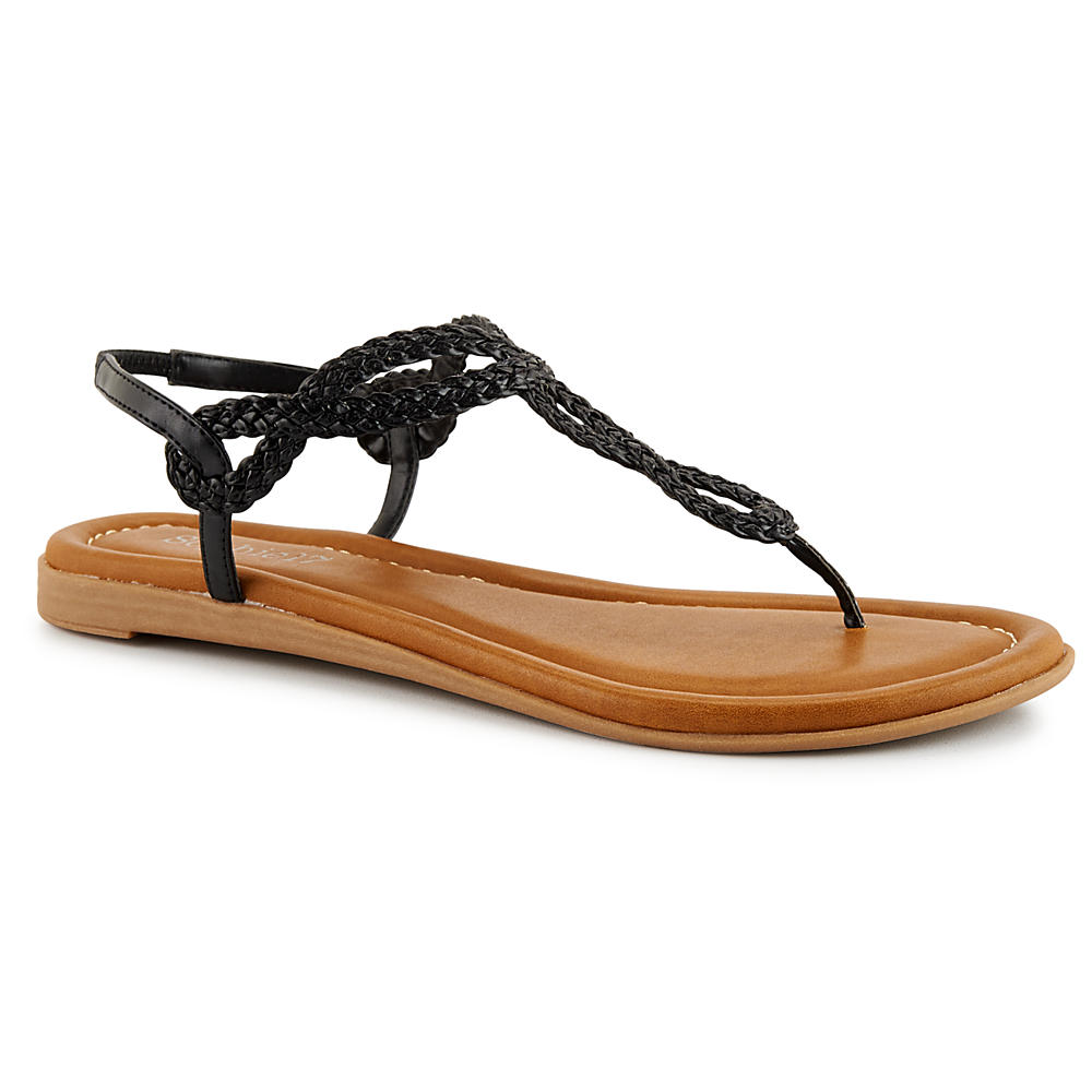 Sophie17 Women's Braidy2 Flat Sandal Shoes (Black)