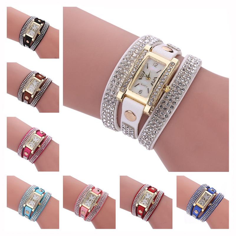 Women  Luxury Crystal Quartz Bracelet Wristwatch - Pick From 8 Colors