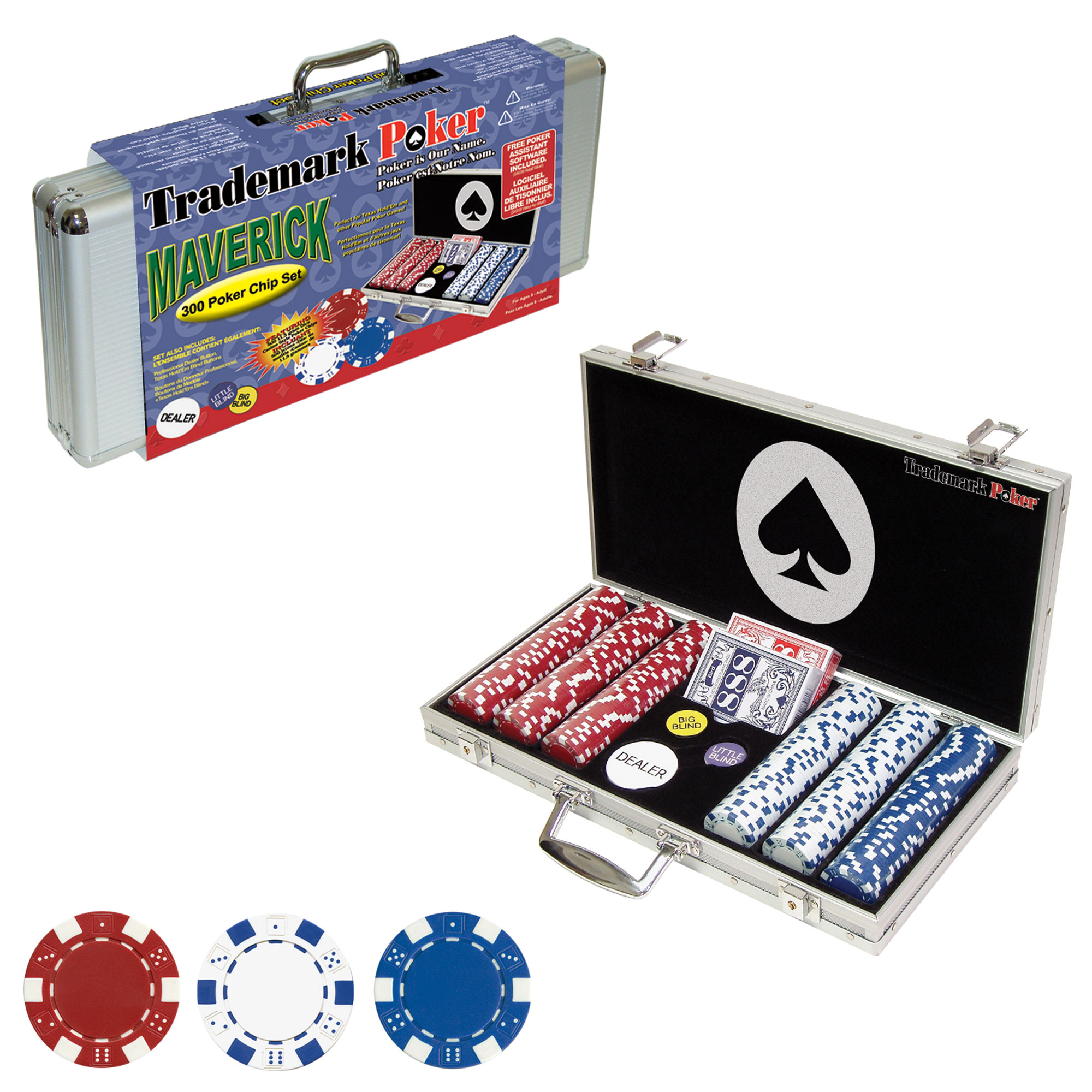 Trademark Poker Maverick 300 Dice Style Poker Chip Set 5690402