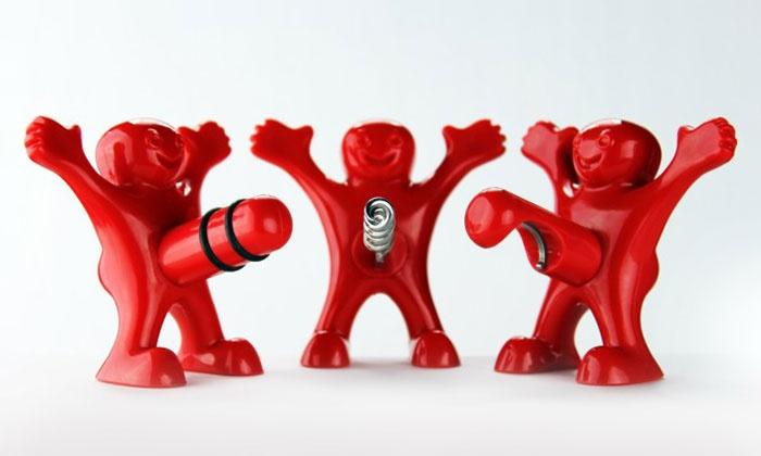 3-Piece Happy Man Bottle Opener, Stopper,  amp  Corkscrew Set