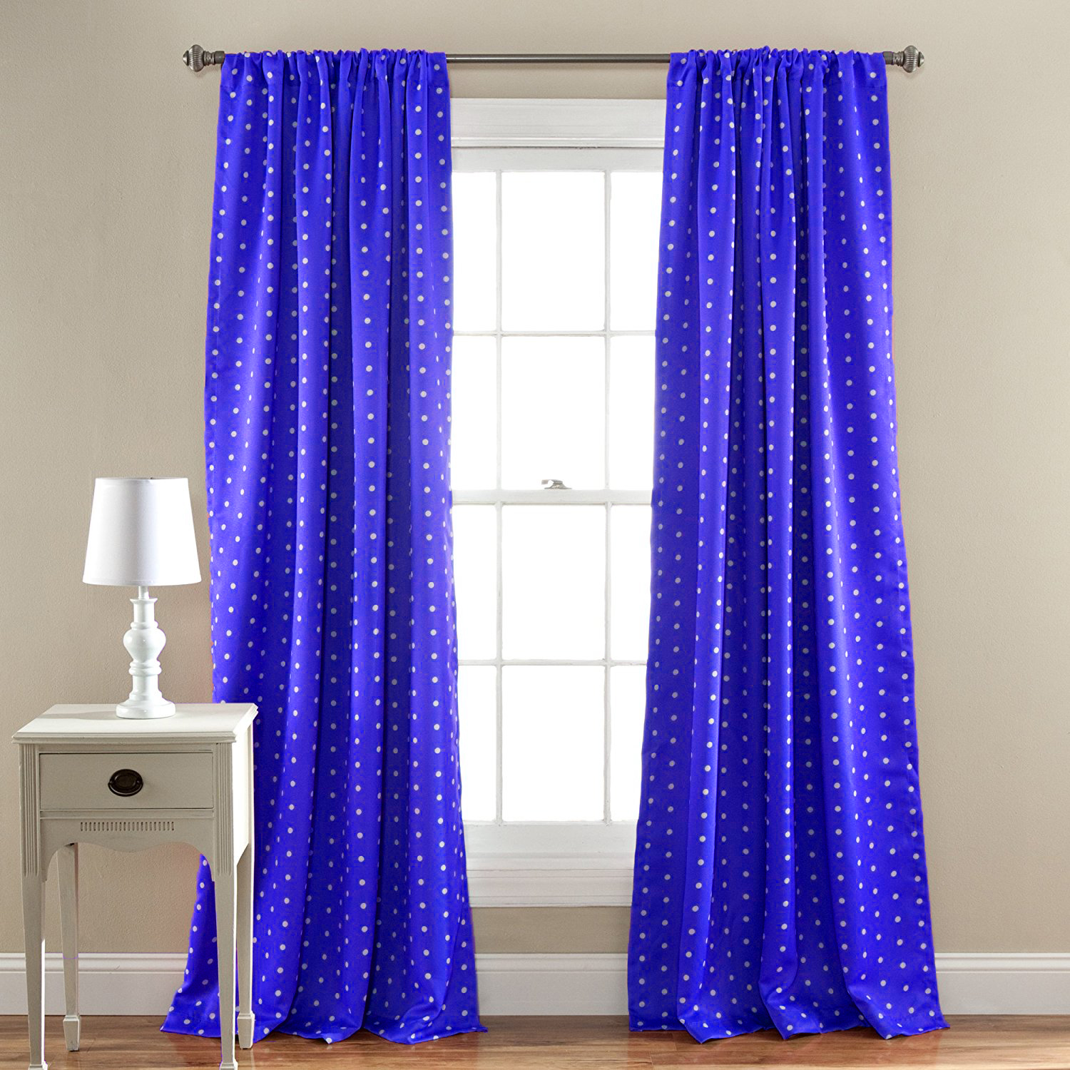 2-Pack  Polka Dot 54  x 84  Energy Saving Blackout Curtain Panels