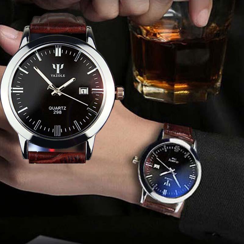 Men s Leather Analog Quartz Waterproof Wrist Watch