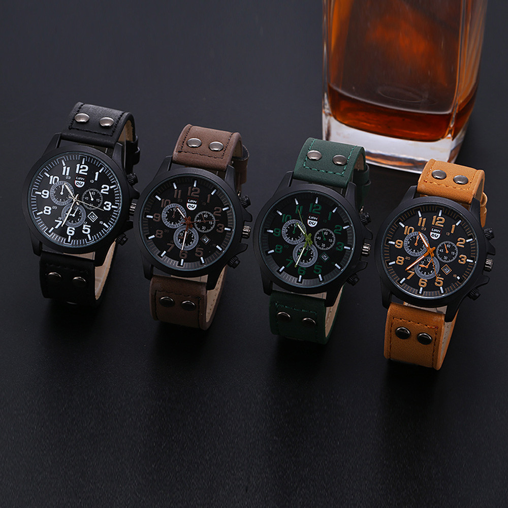 Vintage Classic Waterproof Date Leather Strap Sport Quartz Mens Army Watch (Multiple Colors)