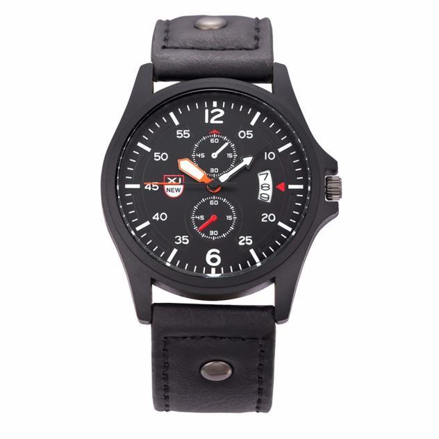 Military Leather Date Quartz Analog Army Men s Quartz Wrist Watches