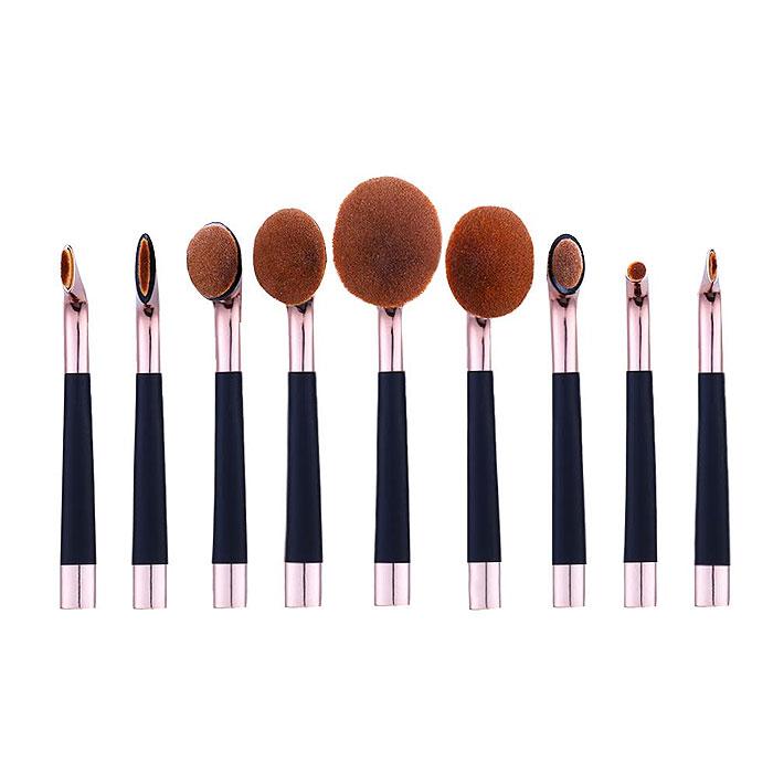 9-Piece Oval Makeup Brush Set