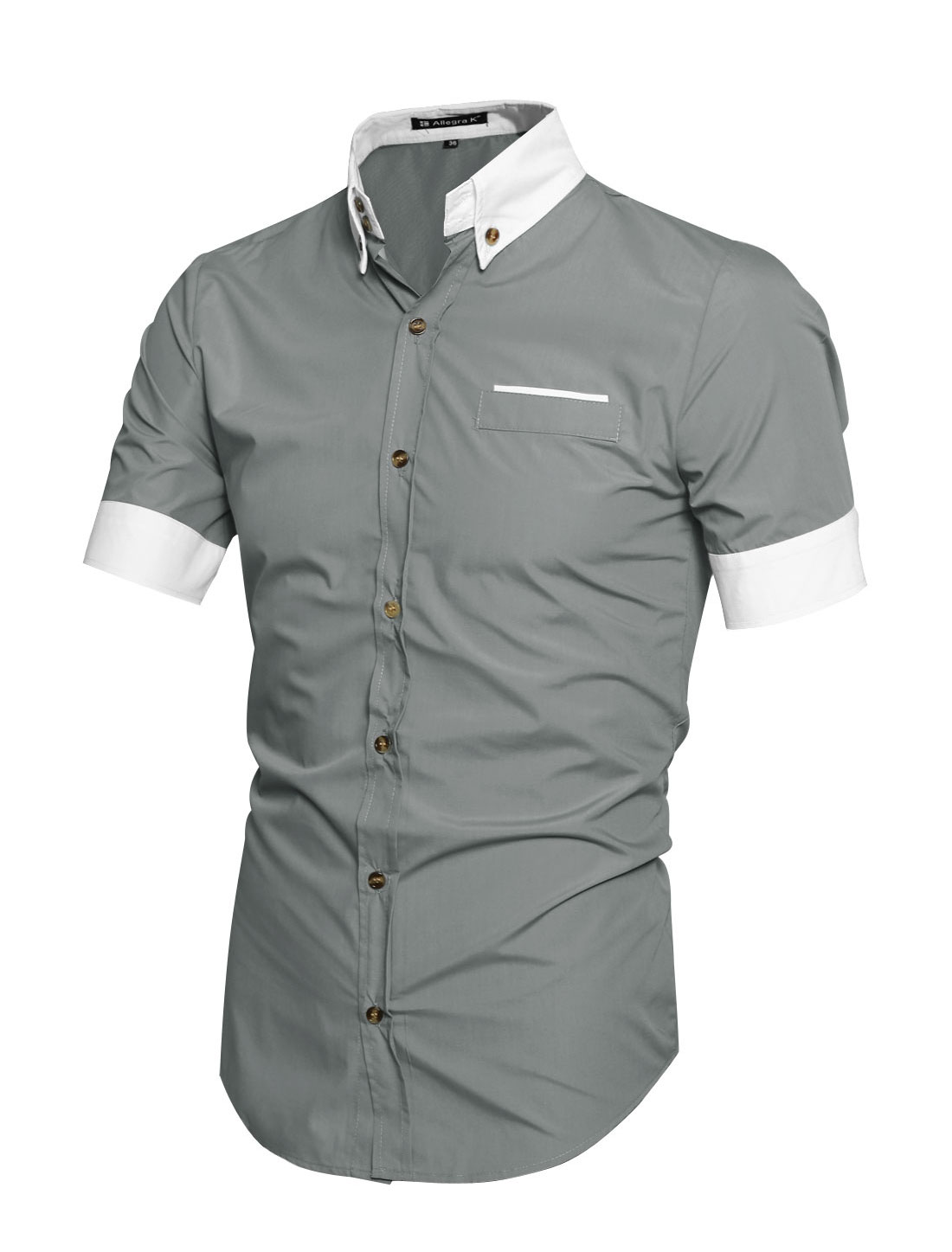 Men contrast color short sleeves button down shirt light for Best short sleeve button down shirts reddit