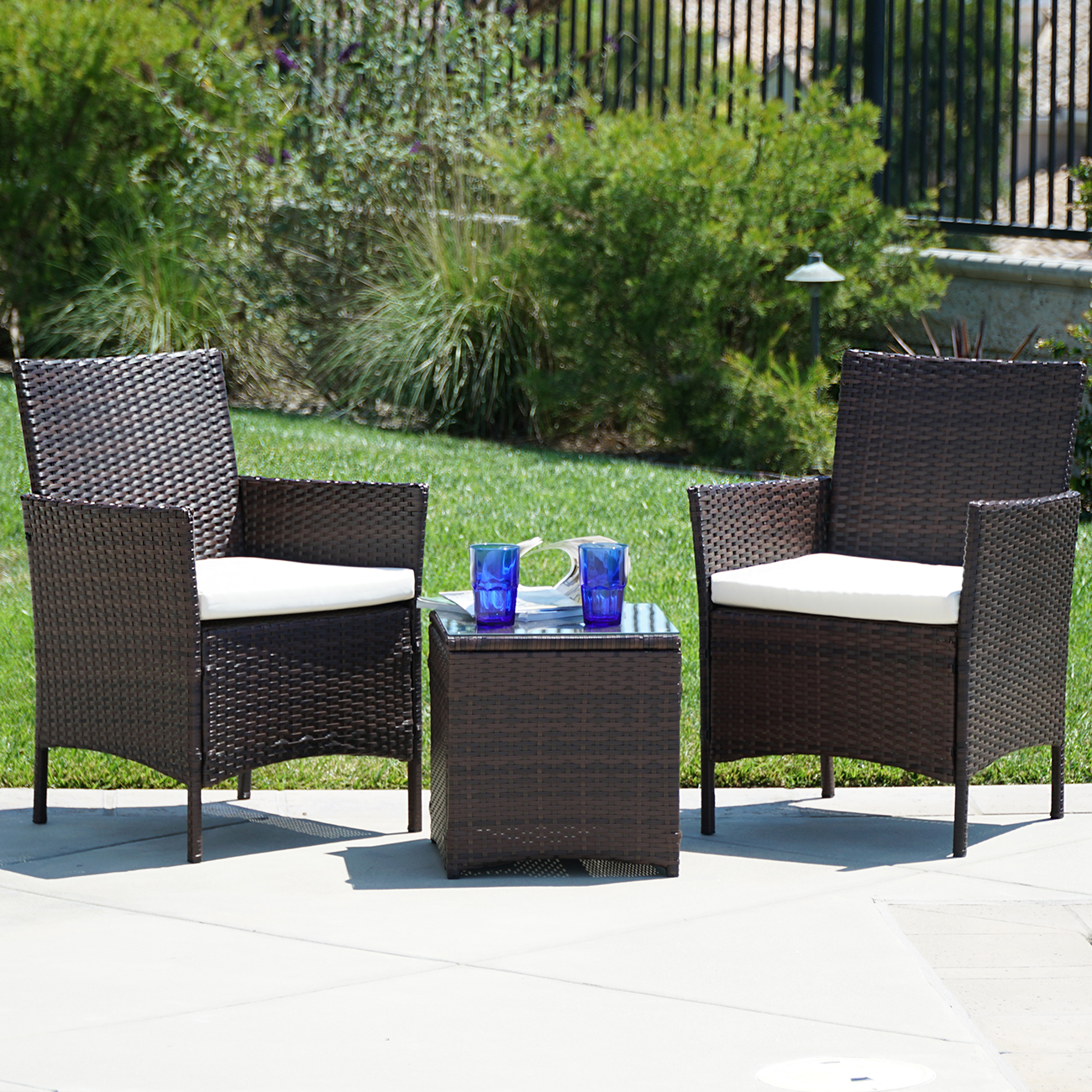 Belleze 3pc patio outdoor rattan set coffee table chairs for Best deals on patio furniture sets