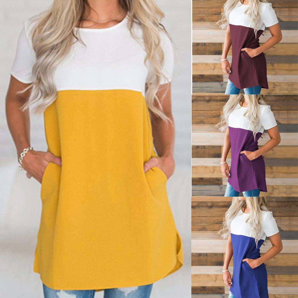 Women s Casual Stitching Chiffon Short Sleeved O-Neck T-Shirt Top Blou