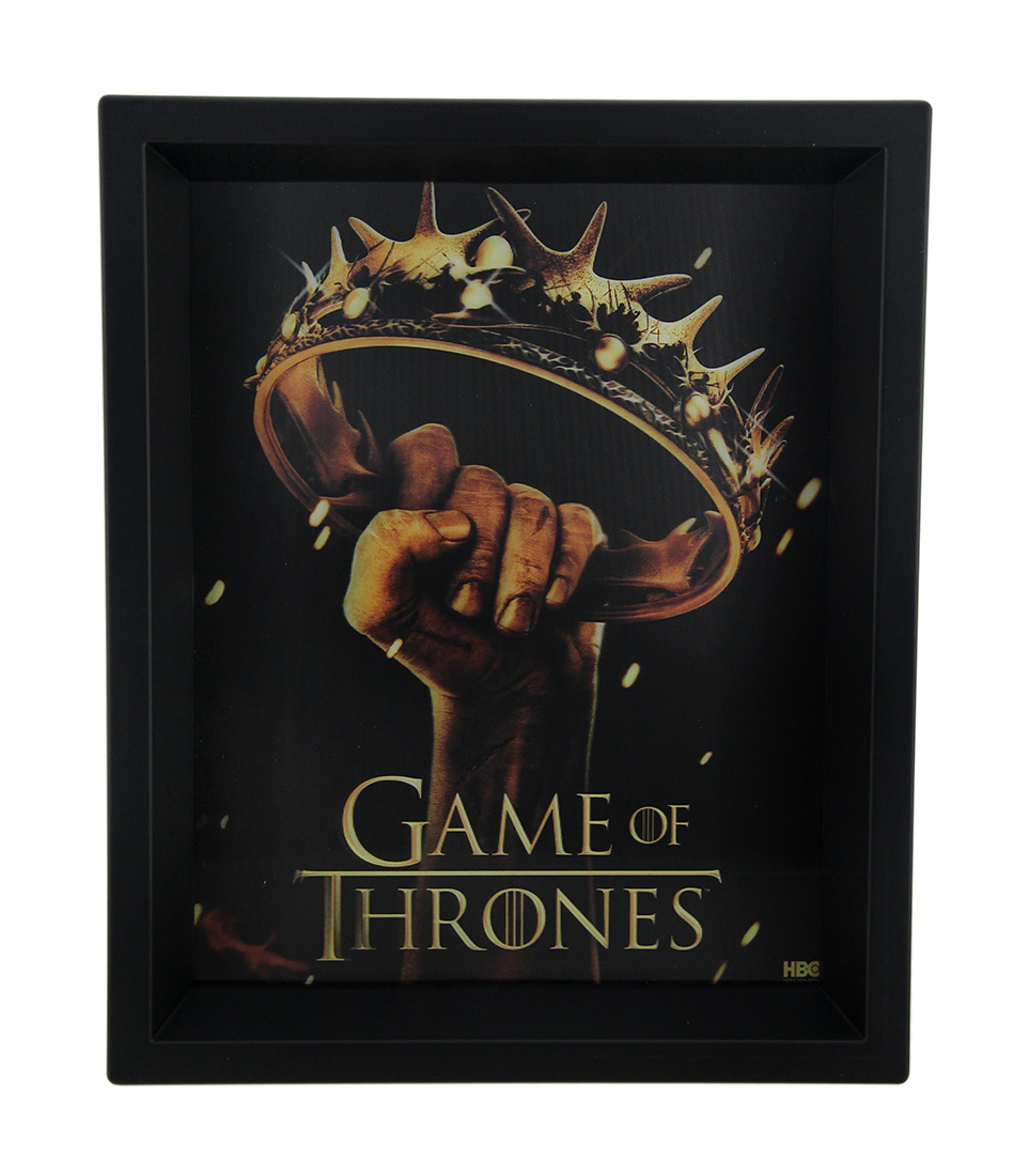 Game of thrones crown logo 8 x 10 3d shadow box shadow for Game of thrones garden ornaments