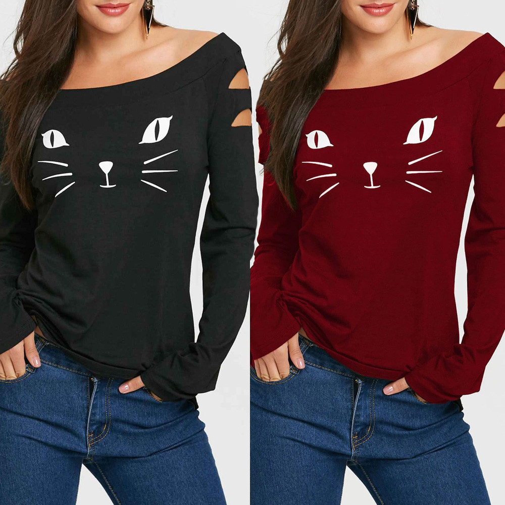 Women Cat Cold Shoulder Loose Casual Long Sleeve Shirt Tops Blouse Top