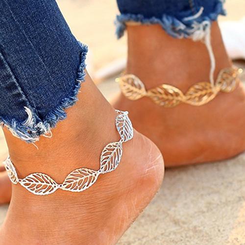 Hollow Charm Leaf Shape Anklet