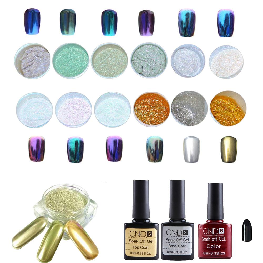 12-Color Mirror UV Gel Glitter Powder Set for Nails
