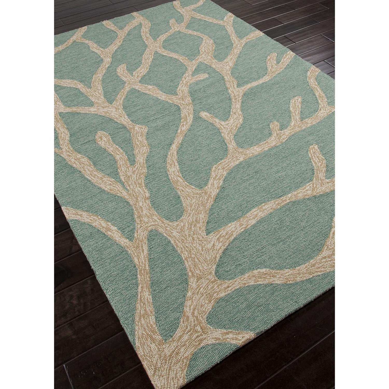 3.5' X 5.5' Aqua Blue And Taupe Outdoor Coral Area Throw