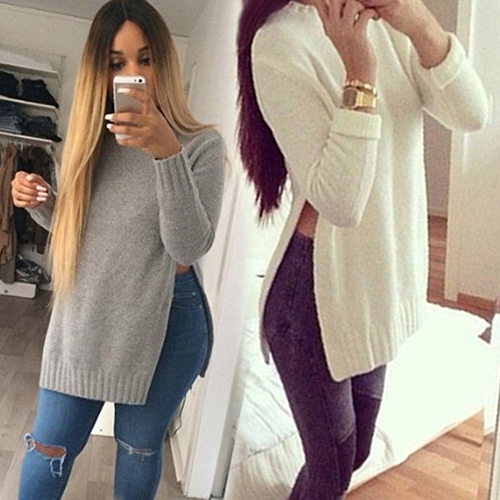 Long Sleeve Side Split Long Knitwear Top 9014008