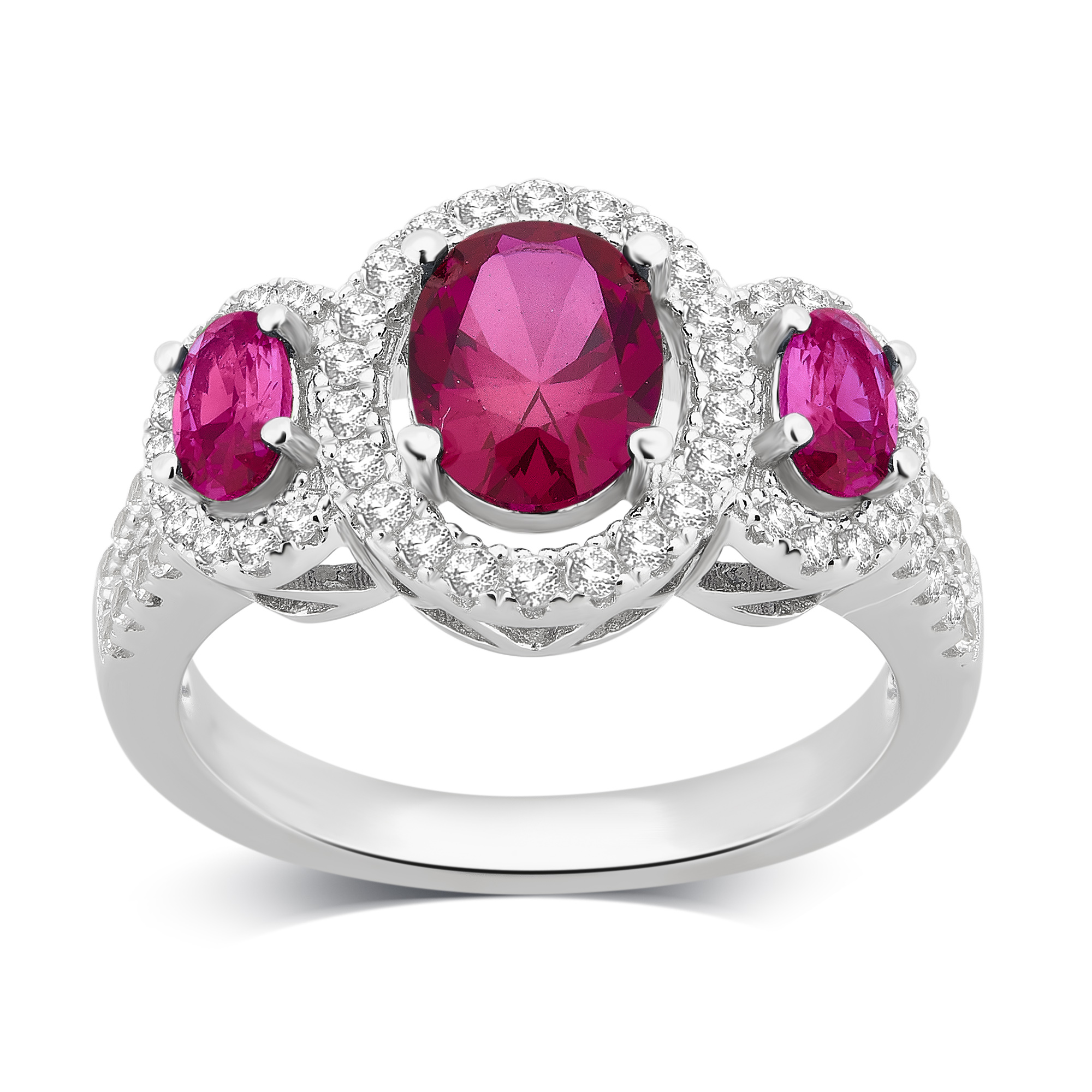 2.00 Cttw Created Ruby-White Sapphire Ring in Silver