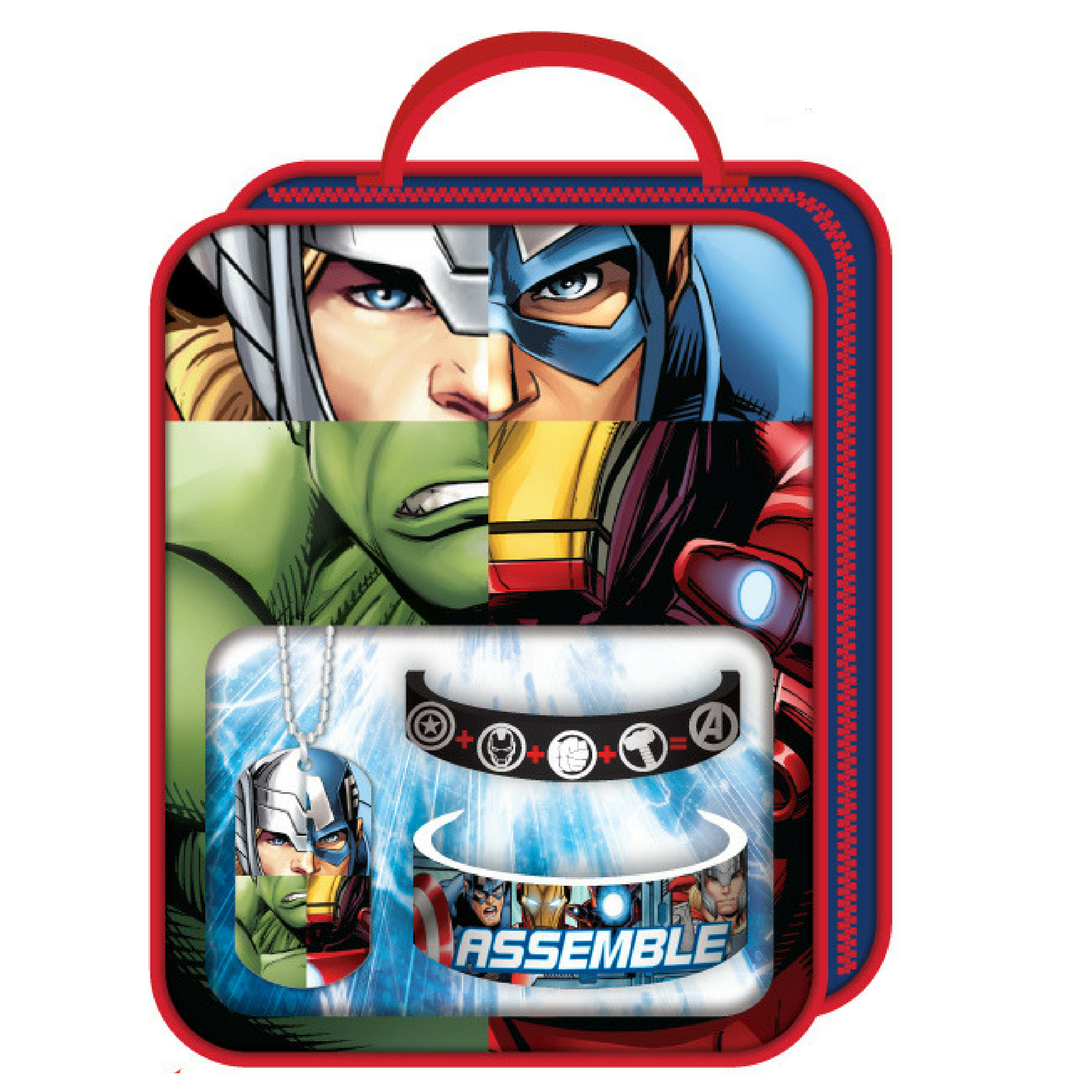 Kids Marvels Avengers Jewelry with Dog Tag , Two bracelets and Bag
