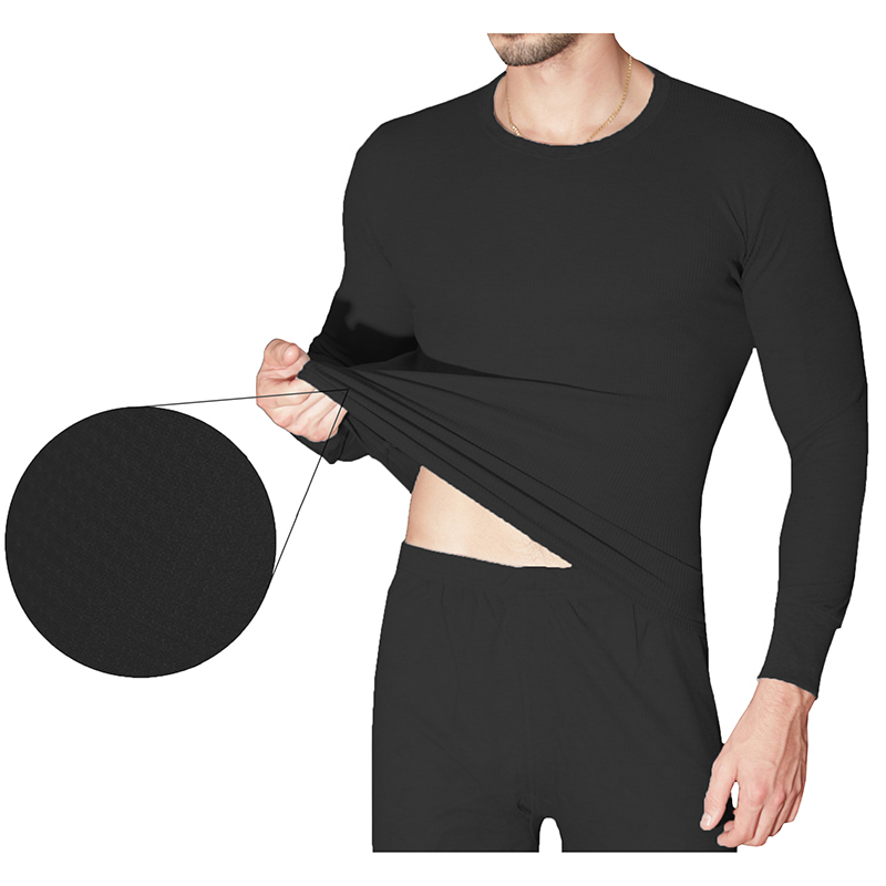 2-Piece Men s Super Soft 100% Cotton Waffle Knit Thermal Underwear Set
