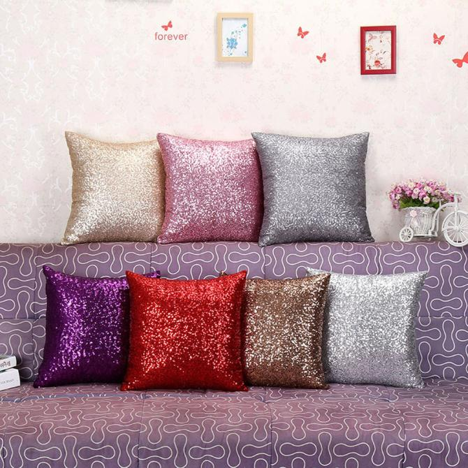 Solid Glitter Sequins Throw Pillow Cases