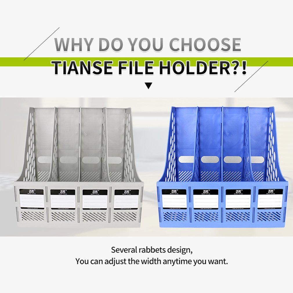 TIANSE TS-1303  Capacity 4 Section Divider File Document Rack Bookshel