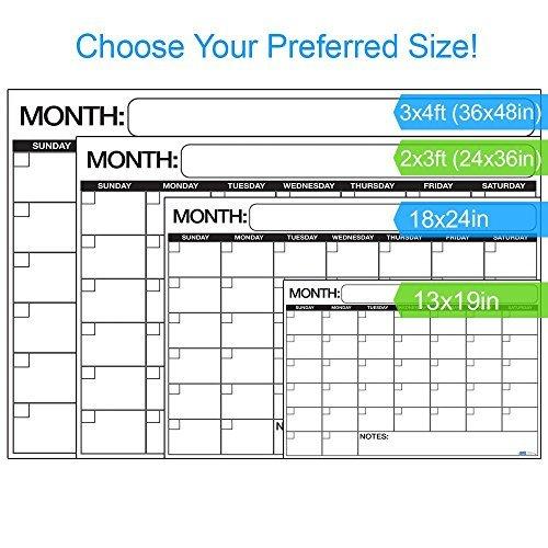 Business Basics Dry Erase Wall Calendar Planner  amp  Organizer