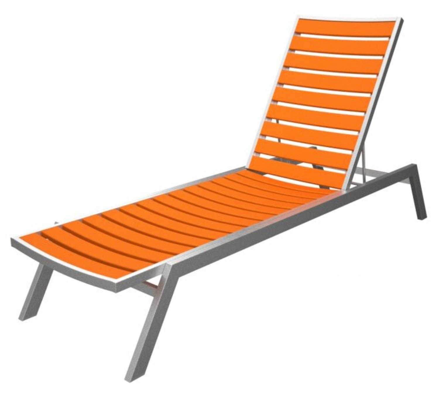 recycled earth friendly chaise lounge chair orange w silver frame tanga. Black Bedroom Furniture Sets. Home Design Ideas