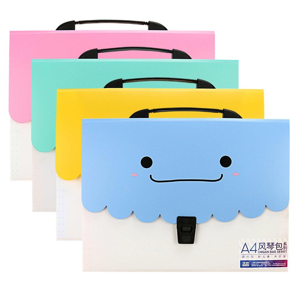 TIANSE A4 Organ Bag Candy Color Sweet Smile File Handbag 13 Layers TS1