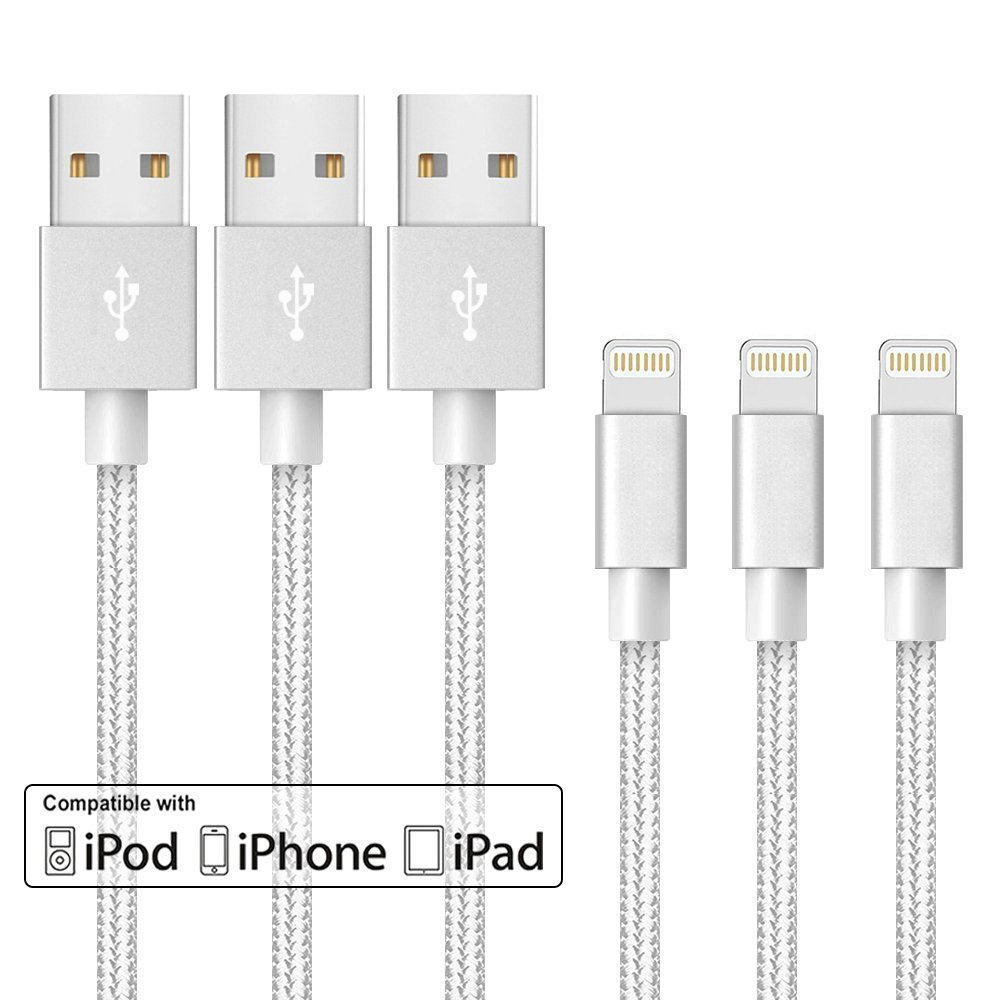 3-Pack MFI Apple Certified 10-Foot Braided Lightning Cables for iPhone