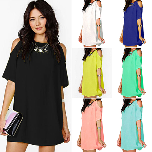 Women s Off Shoulder Chiffon Short Sleeve Mini Dress